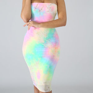 Dresses & Skirts - Rainbow Tie Dye Strapless Bodycon Midi Dress